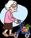 Grand-mère de 90 ans avec Walker