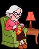 Grand-mère de 80 ans à tricoter une chaussette