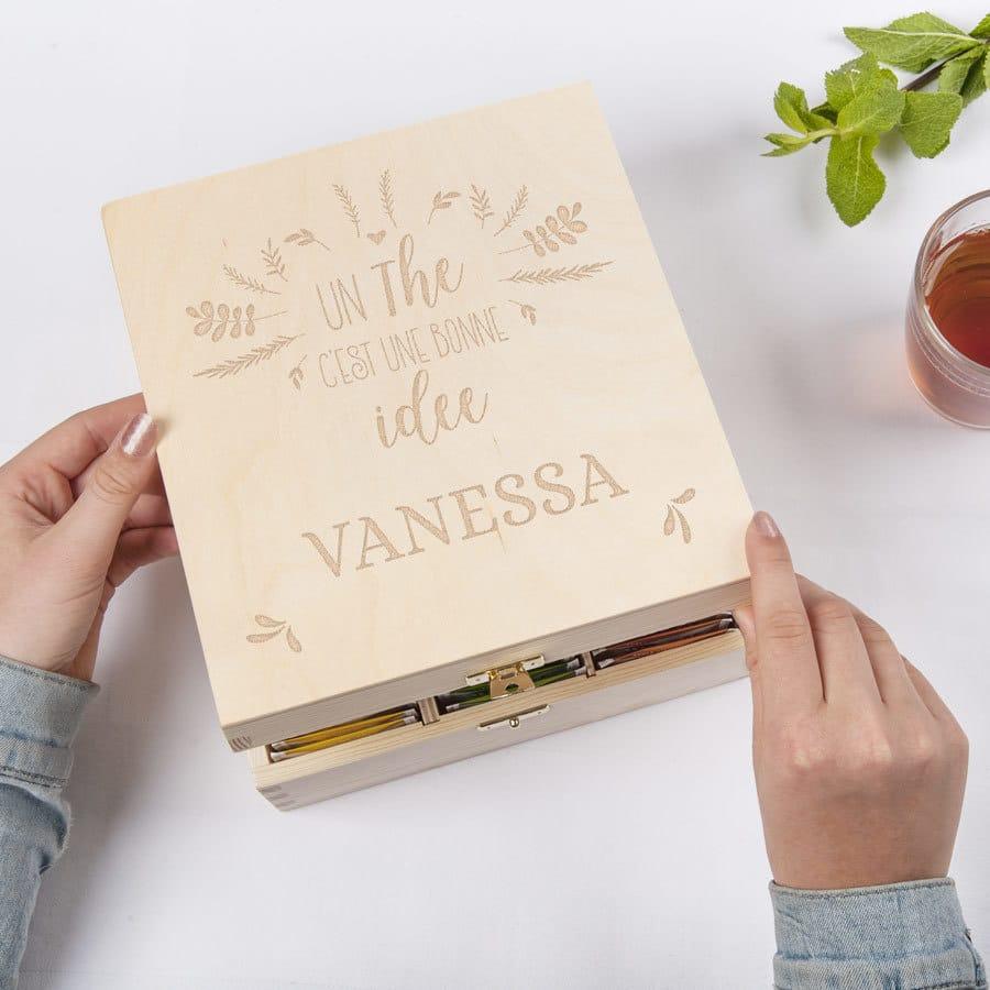 cadeau personnalisé pour mamie - Boîte à thé personnalisée