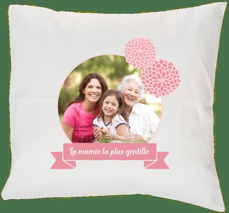 cadeau pour mamie de 65 ans - coussin avec photo enfant