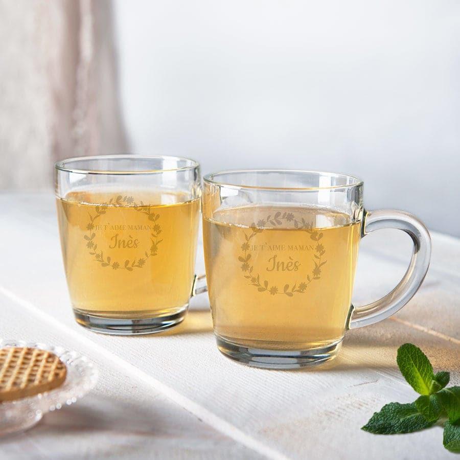 tasse de thé gravure - Cadeau pour la Fête des mères