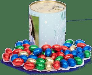 cadeau pour une femme de 80 ans - œufs en chocolat boîte personnalisée